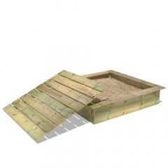 PowerPit Bac à sable avec couvercle 145x145x32 cm